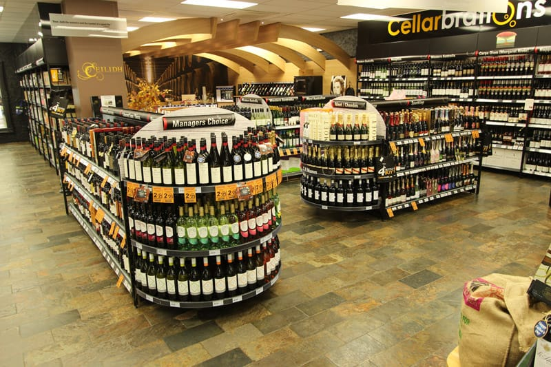 Liquor shelving display