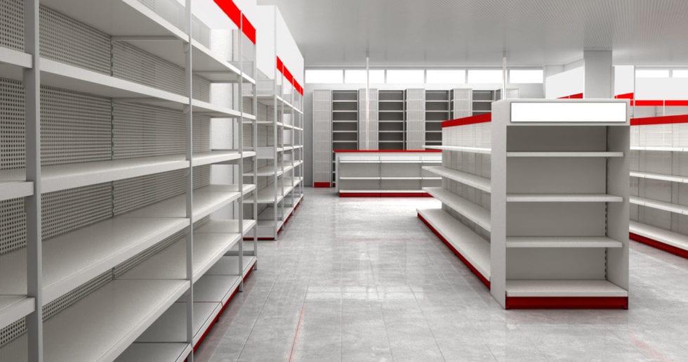 shelving system for shopfitting store