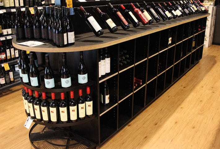 retail displays for wine shelving