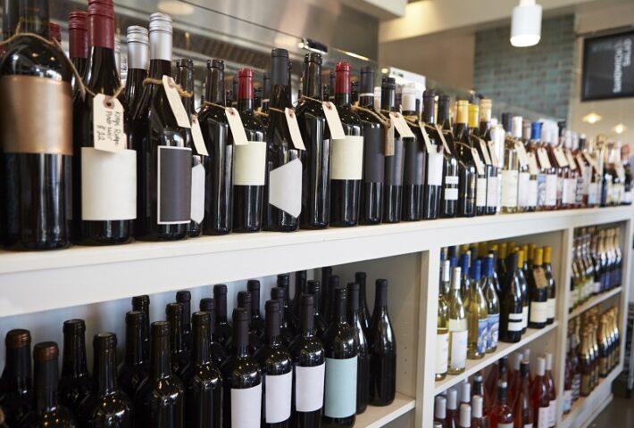Bottle of wines on wine rack liquor store