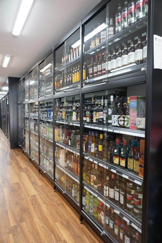 security liquor store shelving